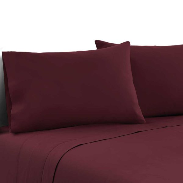 SHEET MICRO BGD K 00 600x600 - Giselle Bedding King Burgundy 4pcs Bed Sheet Set Pillowcase Flat Sheet