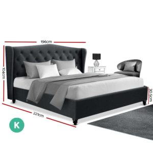 BFRAME E PIER K CHAR ABC 01 300x300 - Artiss King Size Bed Frame Base Mattress Platform Fabric Wooden Charcoal PIER