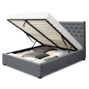 BFRAME E VILA D GY AB 02 300x300 - Artiss Double Full Size Gas Lift Bed Frame Base With Storage Mattress Grey Fabric VILA