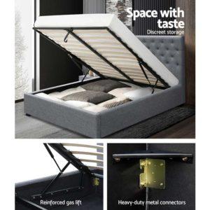 BFRAME E VILA D GY AB 05 300x300 - Artiss Double Full Size Gas Lift Bed Frame Base With Storage Mattress Grey Fabric VILA