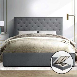 BFRAME E VILA D GY AB 06 300x300 - Artiss Double Full Size Gas Lift Bed Frame Base With Storage Mattress Grey Fabric VILA