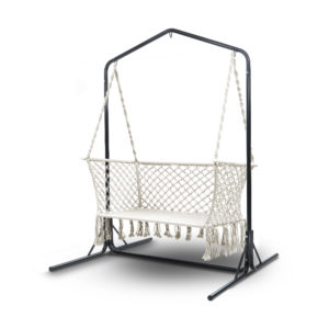 HM CHAIR STAND U DOU CREAM 00 300x300 - Gardeon Double Swing Hammock Chair with Stand Macrame Outdoor Bench Seat Chairs