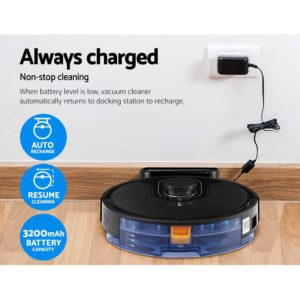 RVC D X8 BK 04 300x300 - Robot Vacuum Cleaner Robotic LDS Distance Sensor Automatic Carpet Floor Mop