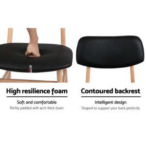 BENT C 8009 BKX2 02 300x300 - Artiss Set of 2 Wood & PVC Dining Chairs - Black