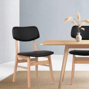 BENT C 8009 BKX2 06 300x300 - Artiss Set of 2 Wood & PVC Dining Chairs - Black