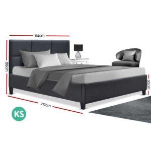 BFRAME E TINO KS CHAR AB 01 300x300 - Artiss TINO King Single Size Bed Frame Base Fabric Headboard Wooden Mattress