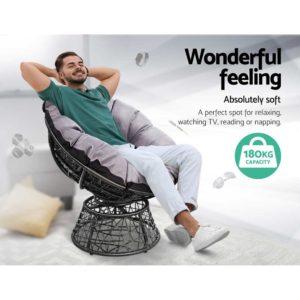 ODF PAPASAN CHTB BK 03 300x300 - Gardeon Papasan Chair and Side Table - Black