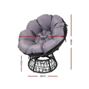 ODF PAPASAN TBCHX2 BK 01 300x300 - Gardeon Papasan Chair and Side Table Set- Black