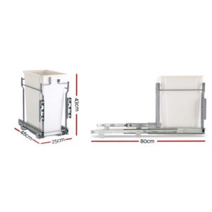 POT B 20L WH 02 300x300 - Devanti 20L Pull Out Bin Door Mount Kitchen Rubbish Bin White