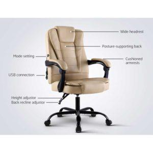 MOC 09M 2P KI 02 300x300 - Artiss Massage Office Chair Gaming Chair Recliner Computer Chairs Khaki