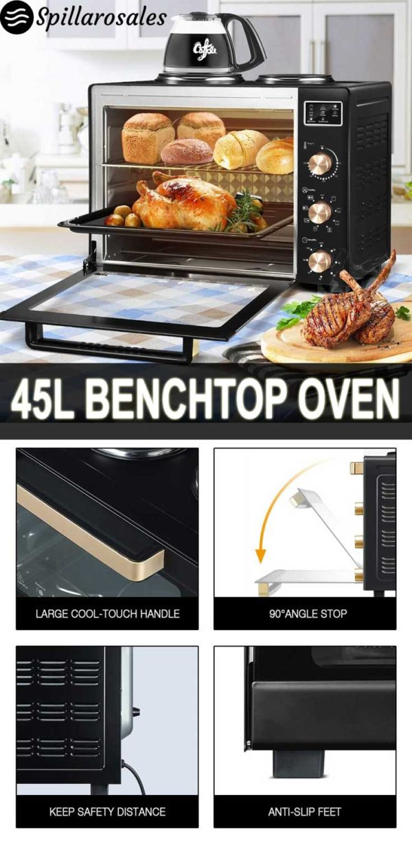 45L Portable Electric Benchtop Oven Convection Bake Toaster Rotisserie Hot Plate
