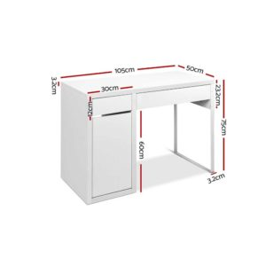 DESK DRAW 105 WH AB 01 300x300 - Artiss Metal Desk With Storage Cabinets - White