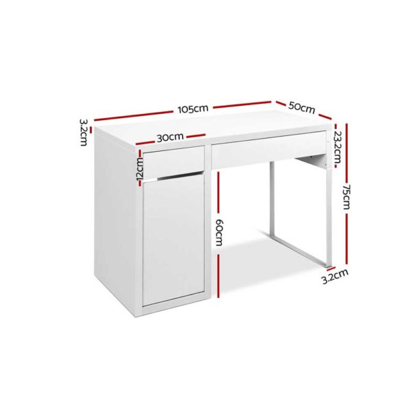 DESK DRAW 105 WH AB 01 600x600 - Artiss Metal Desk With Storage Cabinets - White