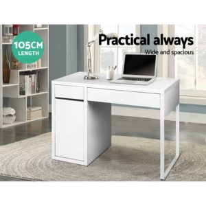 DESK DRAW 105 WH AB 03 300x300 - Artiss Metal Desk With Storage Cabinets - White