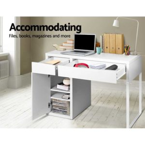 DESK DRAW 105 WH AB 04 300x300 - Artiss Metal Desk With Storage Cabinets - White