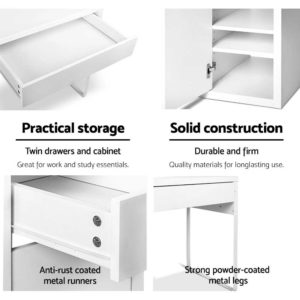 DESK DRAW 105 WH AB 05 300x300 - Artiss Metal Desk With Storage Cabinets - White