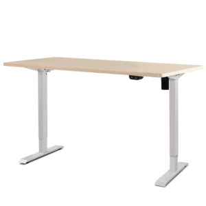 HASD 114E WHDF WODB 140 00 1 300x300 - Electric Motorised Height Adjustable Standing Desk - White Frame with 140cm Natural Oak Top