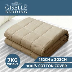 WBLANKET CT 7KG BR 02 300x300 - Giselle Bedding 7KG Cotton Gravity Weighted Blanket Deep Relax Sleep Adult Brown