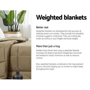 WBLANKET CT 7KG BR 03 300x300 - Giselle Bedding 7KG Cotton Gravity Weighted Blanket Deep Relax Sleep Adult Brown