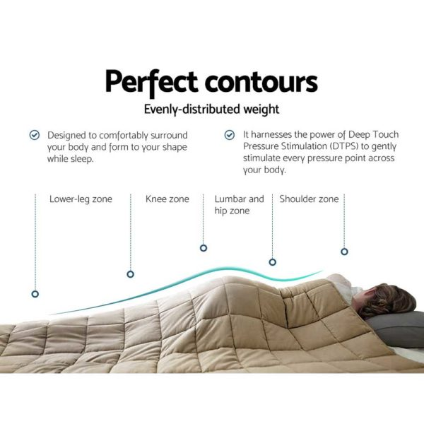 WBLANKET CT 7KG BR 04 600x600 - Giselle Bedding 7KG Cotton Gravity Weighted Blanket Deep Relax Sleep Adult Brown