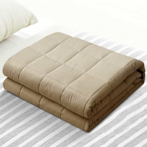 WBLANKET CT 7KG BR 99 600x600 - Giselle Bedding 7KG Cotton Gravity Weighted Blanket Deep Relax Sleep Adult Brown
