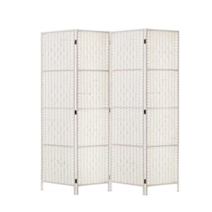 RD C 8001 4P WH 00 300x300 - Artiss 4 Panels Room Divider Screen Privacy Rattan Timber Fold Woven Stand White