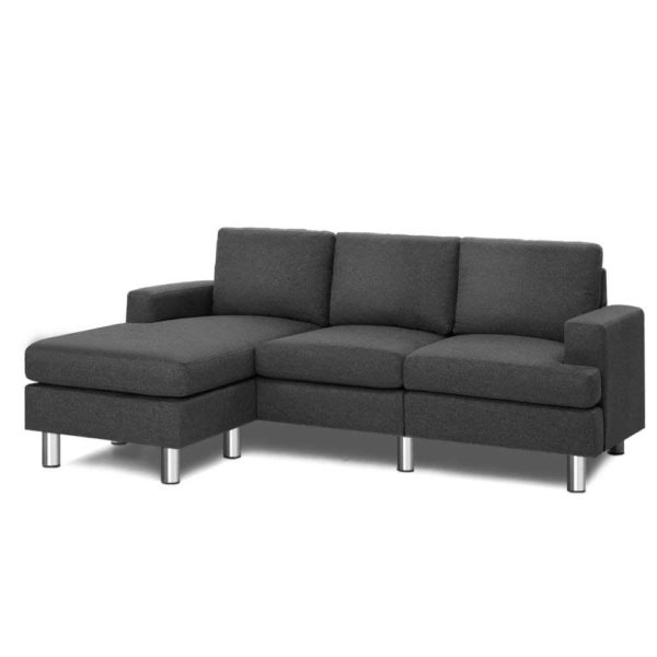 SBED E LIN108 GY AB 00 600x600 - Artiss Sofa Lounge Set Couch Futon Corner Chaise Fabric 4 Seater Suite Dark Grey