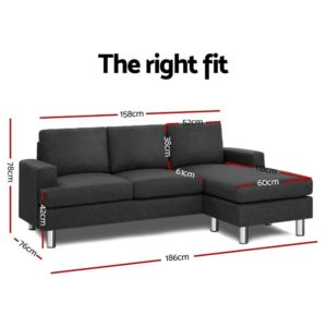 SBED E LIN108 GY AB 01 300x300 - Artiss Sofa Lounge Set Couch Futon Corner Chaise Fabric 4 Seater Suite Dark Grey