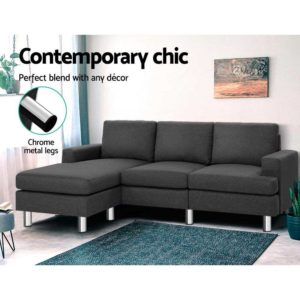 SBED E LIN108 GY AB 02 300x300 - Artiss Sofa Lounge Set Couch Futon Corner Chaise Fabric 4 Seater Suite Dark Grey