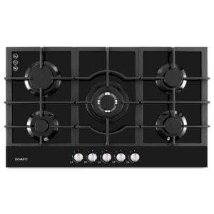 CT GAS 5MB BK 00 300x300 - Devanti Gas Cooktop 90cm 5 Burner Ceramic Glass Stove Hob Cooker NG LPG Black