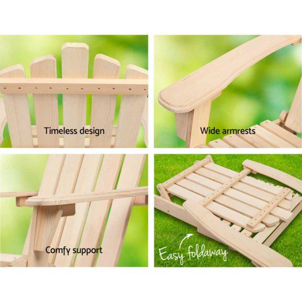 FF ODFBEACH 3NW 03 600x600 - Gardeon Outdoor Chairs Table Set Lounge Patio Furniture Beach Chair Adirondack