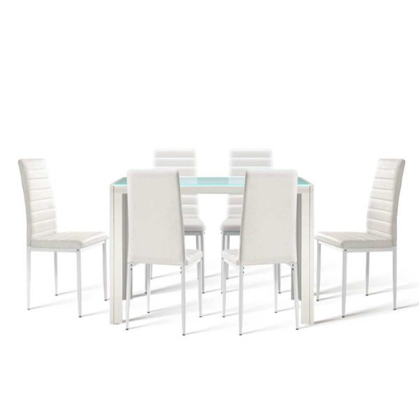 DINING B T120 WH ABC 00 600x600 - Artiss Astra 7-piece Dining Table and Chairs Dining Set Tempered Glass Leather Seater Metal Legs White