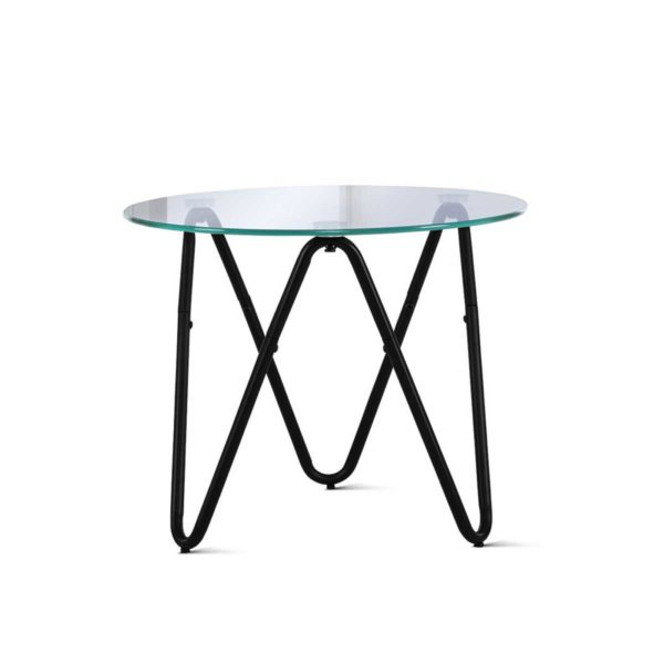 DINING B T5040 BK 00 600x600 - Artiss Coffee Table Glass End Side Tables High Gloss Display Modern Furniture 50X50CM