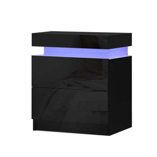 FURNI O LED BS 01 BK 00 600x600 - Artiss Bedside Tables Side Table Drawers RGB LED High Gloss Nightstand Black