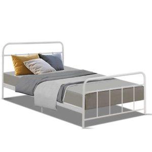 MBED B N04S WH AB 00 300x300 - Artiss Bed Frame SINGLE Size Metal Bed Mattress Base Platform Foundation White LEO