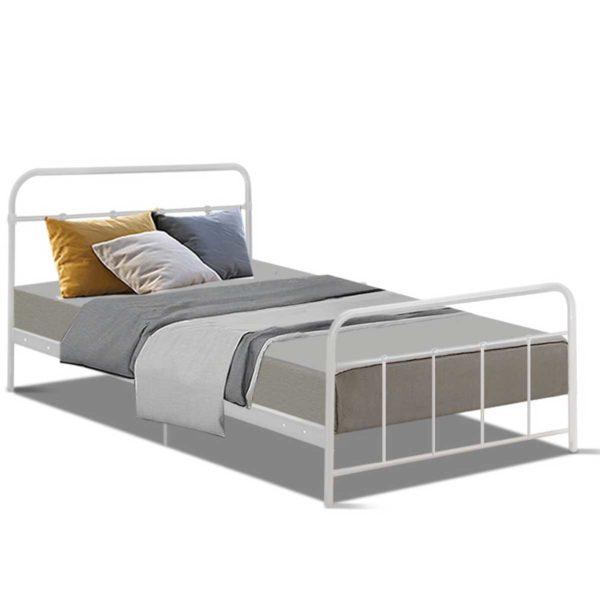 MBED B N04S WH AB 00 600x600 - Artiss Bed Frame SINGLE Size Metal Bed Mattress Base Platform Foundation White LEO