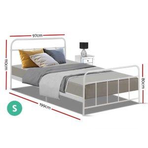 MBED B N04S WH AB 01 300x300 - Artiss Bed Frame SINGLE Size Metal Bed Mattress Base Platform Foundation White LEO