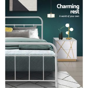MBED B N04S WH AB 04 300x300 - Artiss Bed Frame SINGLE Size Metal Bed Mattress Base Platform Foundation White LEO