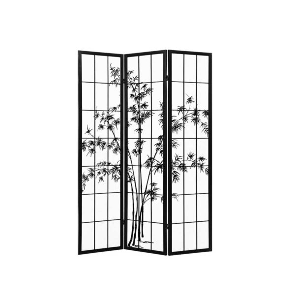 RD 5013 3P BK 00 600x600 - Artiss 3 Panel Room Divider Screen Privacy Dividers Pine Wood Stand Shoji Bamboo Black White
