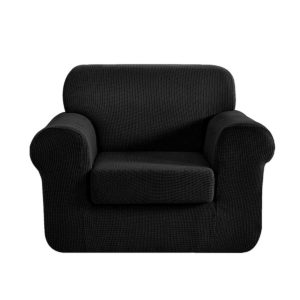 SCOVER 2PC 1 BK 00 300x300 - Artiss 2-piece Sofa Cover Elastic Stretch Couch Covers Protector 1 Steater Black