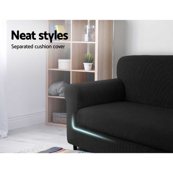 SCOVER 2PC 1 BK 02 600x600 - Artiss 2-piece Sofa Cover Elastic Stretch Couch Covers Protector 1 Steater Black