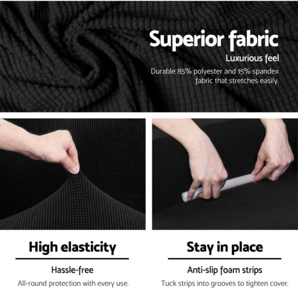 SCOVER 2PC 1 BK 03 600x600 - Artiss 2-piece Sofa Cover Elastic Stretch Couch Covers Protector 1 Steater Black