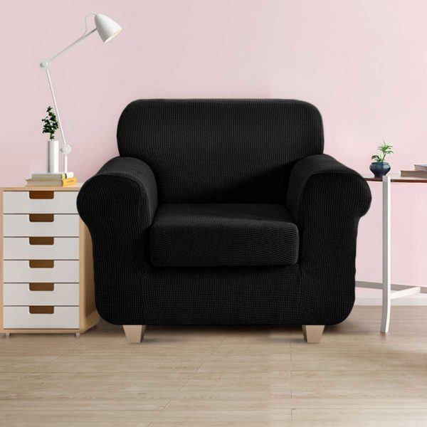 SCOVER 2PC 1 BK 99 600x600 - Artiss 2-piece Sofa Cover Elastic Stretch Couch Covers Protector 1 Steater Black
