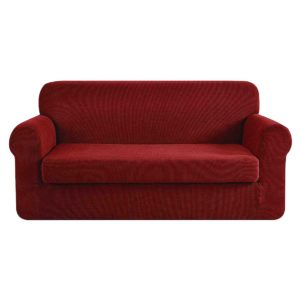 SCOVER 2PC 3 WR 00 300x300 - Artiss 2-piece Sofa Cover Elastic Stretch Couch Covers Protector 3 Steater Burgundy