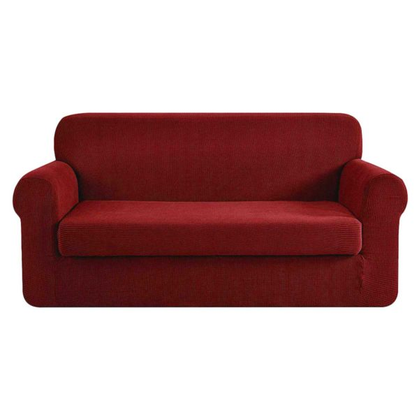 SCOVER 2PC 3 WR 00 600x600 - Artiss 2-piece Sofa Cover Elastic Stretch Couch Covers Protector 3 Steater Burgundy