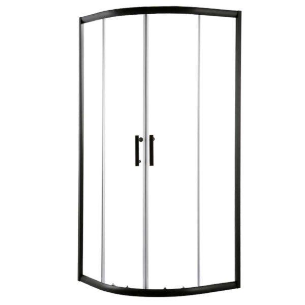 SS ROUND 900 BK ABC 00 600x600 - Cefito Shower Screen Curved Bathroom Screens Glass Sliding Door Black 900x900mm