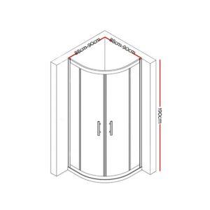 SS ROUND 900 BK ABC 01 300x300 - Cefito Shower Screen Curved Bathroom Screens Glass Sliding Door Black 900x900mm