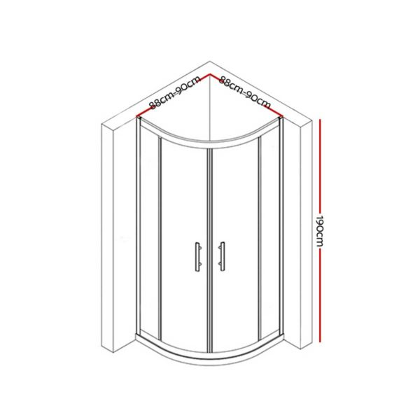 SS ROUND 900 BK ABC 01 600x600 - Cefito Shower Screen Curved Bathroom Screens Glass Sliding Door Black 900x900mm