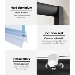 SS ROUND 900 BK ABC 04 300x300 - Cefito Shower Screen Curved Bathroom Screens Glass Sliding Door Black 900x900mm