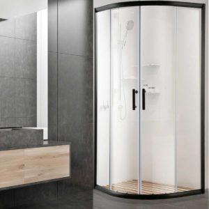 SS ROUND 900 BK ABC 06 300x300 - Cefito Shower Screen Curved Bathroom Screens Glass Sliding Door Black 900x900mm